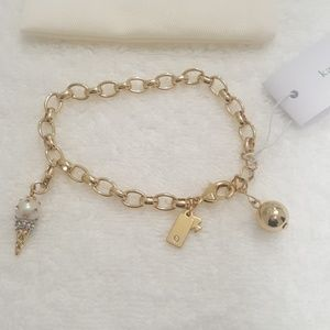 New kate spade Gold Tone Charm and Charm Bracelet